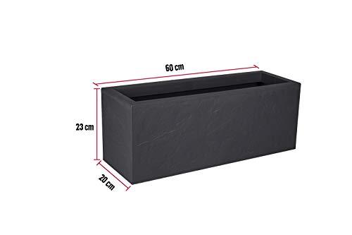 Kreher XL Pflanzkasten rechteckig der Serie Stone in Anthrazit, aus robustem Kunststoff, in verschiedenen Größen (25 L)