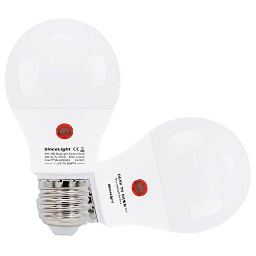 LED Lampe mit doppelt genial Tageslicht Sensoren für Außenbeleuchtung (Dämmerung bis zum Morgengrauen) / 9 Watt / 200-240Vac / 2er Pack (Kaltweiß · 6000K, E27) - Dämmerung Fotozelle