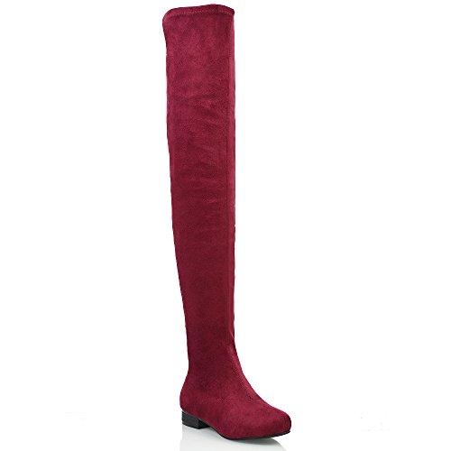 Essex Glam Damen Denbare Oberschenkel hoche Wildleder Stiefeln (EU 38, Burgund Wildlederimitat) (Rote Overknee-stretch-stiefel)