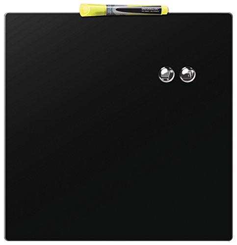 Rexel Magnetische, Trocken Abwischbare Tafel, Rahmenloses Quadrat, 360 x 360 mm, Inkl. Marker, Magneten und Montage-Kit, Schwarz, 1903774