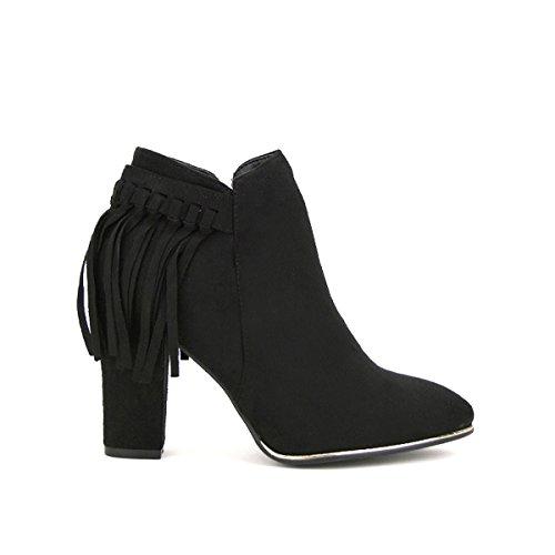 Cendriyon, Bottine Daim noire Franges Cuir TOAME Chaussures Femme Noir
