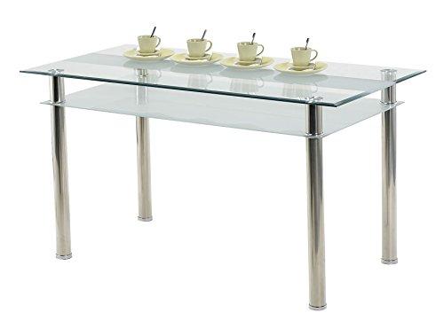 agionda Esstisch Jake Kay 140 80 Küchentisch Glastisch 140 x 80 cm Mit 76mm Edelstahl Beinen 2 Designer Glasplatten