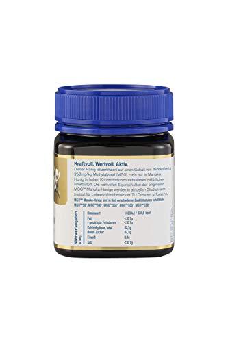 Manuka Health - Manuka Honig MGO 250+ (250 g) - 100{2bbf2fd3c5e372dea27fddd82b1bc987fac3e3ee8056a1bef75587088a01c89d} Pur aus Neuseeland mit zertifiziertem Methylglyoxal Gehalt