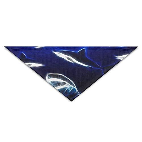 Pet Bandanas Blitz Ocean Sea White Shark Whale Dog Bandanas Schals Dreieck Lätzchen Schals Funny Basic ()
