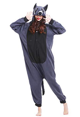 Unisex Kigurumi Jumpsuit Tier Pyjamas Kostüm Fasching Onesie Damen Herren Karneval Cosplay Nachtwäsche, Grau Waschbär