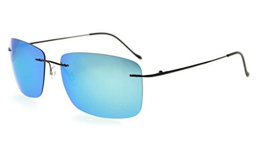 Eyekepper Gafas de sol sin montura de titanio con lente polarizada TAC (Azul Espejo)