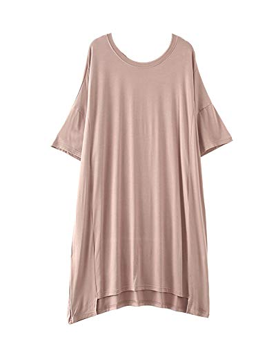 Wenchuang Damen Nachthemd Kurzarm Umstandskleid Lang Pyjama Helle Kaki