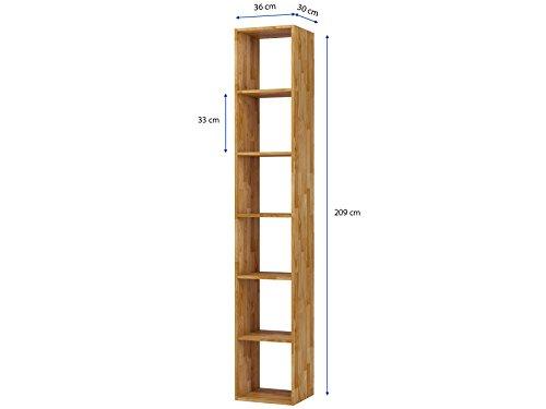 Regal, Bücherregal, Hoch Bücherregale, hohes Bücherregale, Lowboard, Wohnwand, Wandregal-Set, Bibliothek COMFORT mit offenen Fächer, Eiche massiv, geölt (288×209) - 2