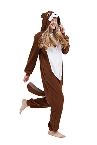 Fandecie Tier Kostüm Tierkostüm Tier Schlafanzug Eichhörnchen Pyjamas Jumpsuit Kigurumi Damen Herren Erwachsene Cosplay Tier Fasching Karneval Halloween (Eichhörnchen, L:Höhe 170-179cm)
