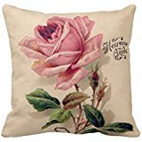 Home Decorative Square Custom Throw Pillow Cover print Floral Pattern 18 X 18Inches Cotton Comfortable Throw Pillowcase -