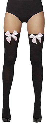 Fancy Me Damen schwarz weiß blau rot rosa blau gingham-schleife TOP Piraten Matrose Dorothy Halloween Kostüm Strümpfe Socken Halterlos - schwarz mit Baby rosa Schleife, One Size