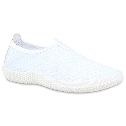 Damen Slip-ons Profilsohle Sneakers Lightweight Slipper Weiß