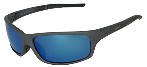 VertXHerrenpolarisierteSonnenbrilleSportRadfahrenlaufenim Freien.-Pistole Metall Gestell grau -Blaue Linse