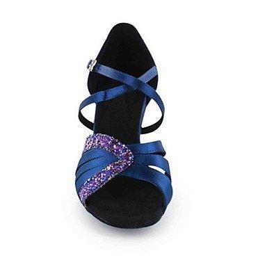 Scarpe da ballo-Personalizzabile-Da donna-Balli latino-americani-Tacco su misura-Finta pelle-Nero Blu Verde Pesca Tessuto almond Peach