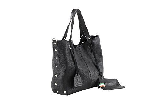 Anna Cecere - Borsa Shopper in pelle con tracolla, Made in Italy - NERO