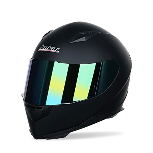 Männer Frauen Universal Full Face Motorradhelm Winter Thermische Antifogging Motorradhelm, Farbe Beschichtet Sicherheit Off Road Helme 53-62 cm