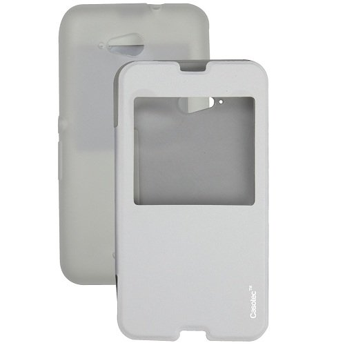 Casotec Premium Caller-id Flip Case Cover with Silicon TPU Back for Sony Xperia E4G - White  available at amazon for Rs.199
