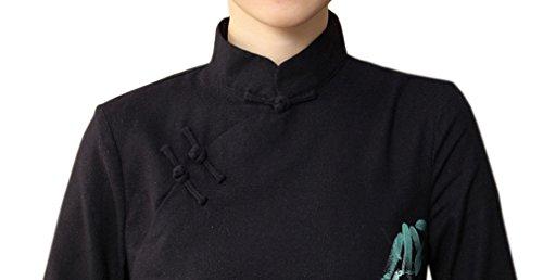 YueLian Damen Frauen Sommer Herbst China Cheongsam Kleider 3/4Ärmel Schwarzblau