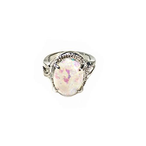 Jixing Oval Imitation Opal Engagement Versprechen Ring Jubiläum Hochzeit Braut Ring für Muttertag Schmuck, Silber, 5 - Jubiläum-diamant-band