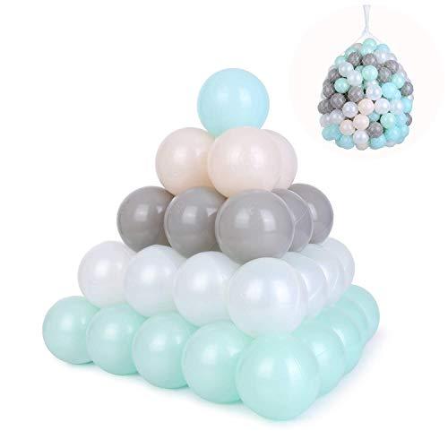 BAMNY Bälle für Bällebad 200 Stück 6cm Baby Kleinkind Kinder Laufgitter Laufstall Weißes Rosa Graues Grünes Blau Bällebad Bälle für Baby Dusche Geburtstag Party