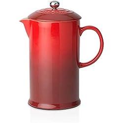 LE CREUSET - Cafetera de émbolo de gres, 750 ml, Color Cereza