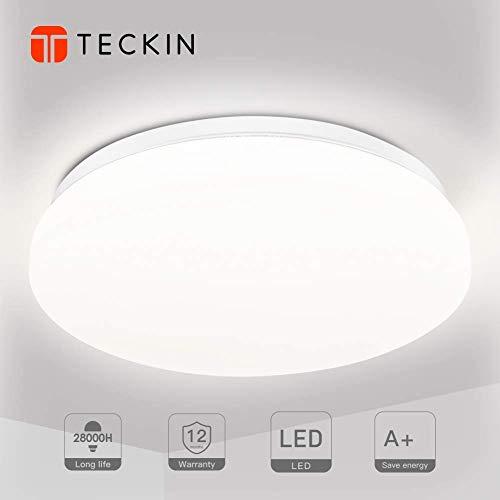 Lámpara de techo lamparas plafon led de techo,Teckin Plafón Luminoso de Baño Balcón Iluminación 4500K 24W IP44