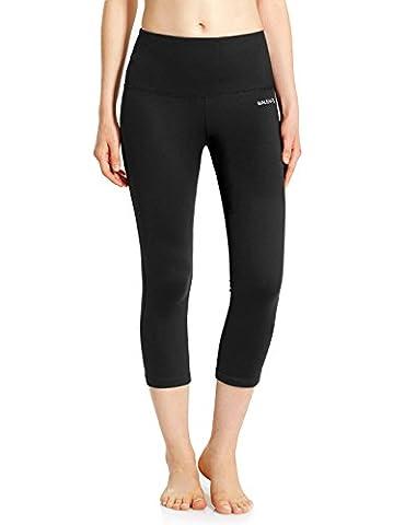 baleaf Pantalon de yoga capri pour femme Taille haute contrôle du ventre non transparent tissu XL Noir