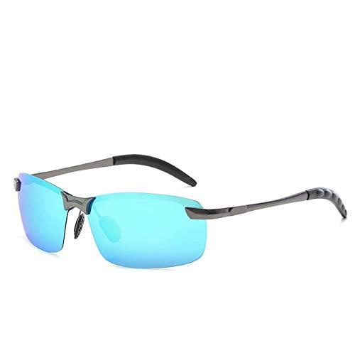 WULE-Sunglasses Unisex Sporting Outdoor TAC Sonnencreme UV400 Metall Polarisationslicht Sonnenbrille Nachtversion Tag und Nacht für Herren (Color : Gun+Ice Blue) (Ice Gun)