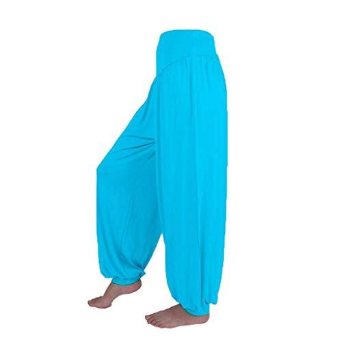 Pants Harem Yoga Pilates Sarouel Femmes Pantalon Fluide Femme SANFASHION(Bleu Chic Fluide,2XL)