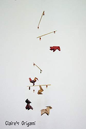 Nutztiere Origami Mobile/Hund, Schwein, Hahn, Kaninchen, Ziege/mit Kraft Papier/Einzigartig/Geschenk (Kraft Origami-papier)