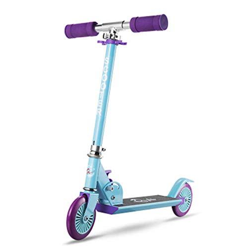 Kyman Aluminium Scooter, Einstellbarer Kinder Pedal Scooter Folding Kinder Scooter Ajustable 60cm-82cm for Junge Mädchen Alter 2-8 (Easy-Folding Höhe verstellbar) (Color : Blue)