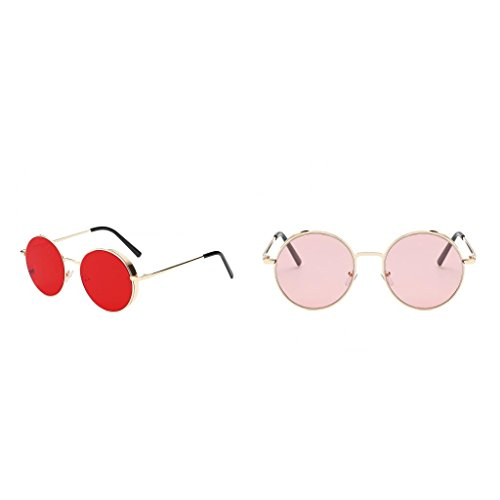 Baoblaze 2 Stück Hippiebrille 70er Jahre Retrobrille runde Sonnenbrille Retro Hippie Brille Karneval Fasching Kostüm Mottoparty Accessoire 60er Jahre Partybrille