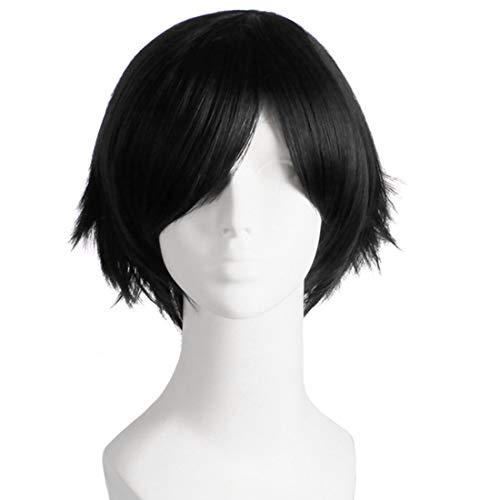 Hitzebeständige Faser 100g einfach zu Waschen und halten Sie es sauber Mann Mode Licht Kurze Glatte Haare Perücke für Comic Cosplay Partei - Milch Golden, schwarz, lila, rot, O