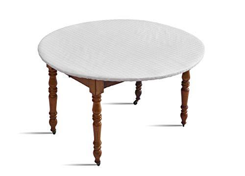 D'Clic - Protège Table Elastiqué Blanc -pour table ronde d'un diamètre de 110 jusqu'a 123 Cm maximum- Fabriqué en France