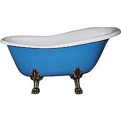 Casa Padrino Freistehende Luxus Badewanne Jugendstil Roma Hellblau/Weiß/Altgold 1470mm - Barock Badezimmer - Mod1