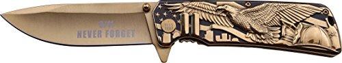MASTER COLLECTION Taschenmesser MC-A029 Serie, Messer GOLD DESIGN, UNITED STATES SKULPTUR Griff, scharfes Jagdmesser, Outdoormesser 9,5 cm ROSTFREI Klinge, Klappmesser für  Angeln/ Jagd -