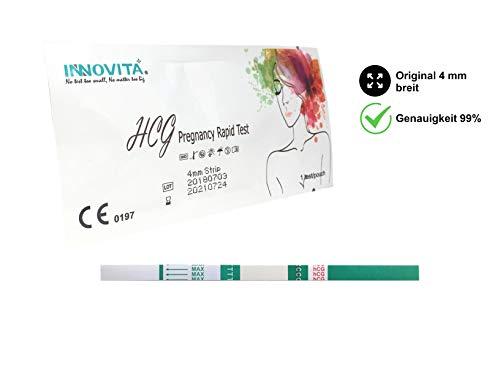 INNOVITA Schwangerschaftstest Frühtest 25 Stück | Original mit maximaler Breite 4 mm und optimaler Empfindlichkeit 10mIU/ml | HCG SS Test