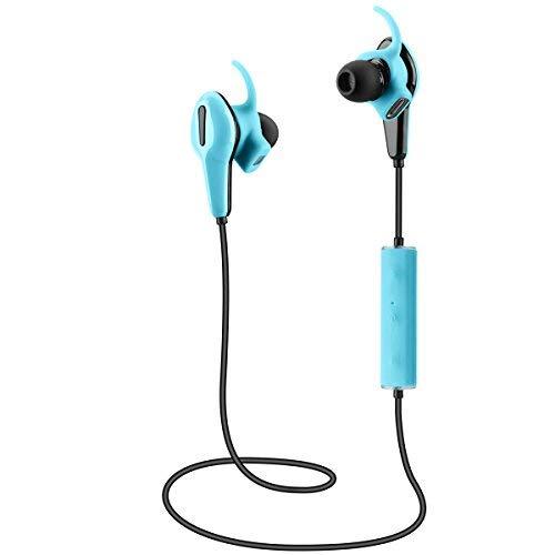 Herzfrequenzmesser headset,UMsky Drahtloses Bluetooth mobile Applikation Kopfhörer mit Pulsmesser und Pedometer In-Ear-Geräusch Stornierung Sweatproof SportKopfhörer, Pulsuhren Earbuds (Blau)