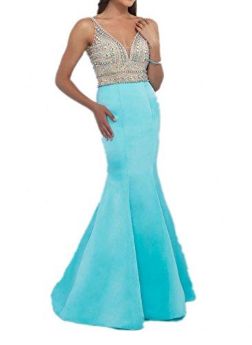 Milano Bride 2017 Neu Hell Gruen V-ausschnitt Steine Damen Abendkleider Partykleider Promkleider Lang Figurbetont Blau