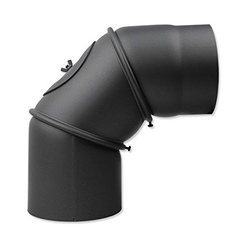 Tubo della stufa arco 130mm 90° regolabile in ghisa grigia con porta al ginocchio ginocchio arco