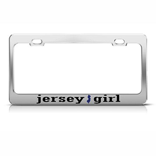 New Jersey Girl Garden State Nummernschild Rahmen Edelstahl Metall Tag Halter