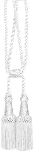 Raffhalter Doppelquaste für Gardinen und Vorhänge 160mm mit Kordel (weiss)