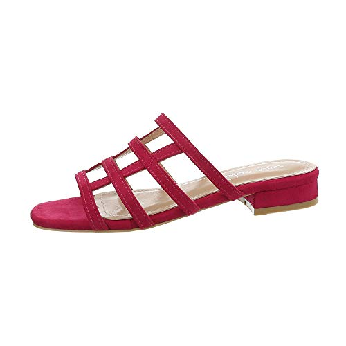 Ital-Design Damenschuhe Sandalen & Sandaletten Pantoletten Synthetik Pink Gr. 38