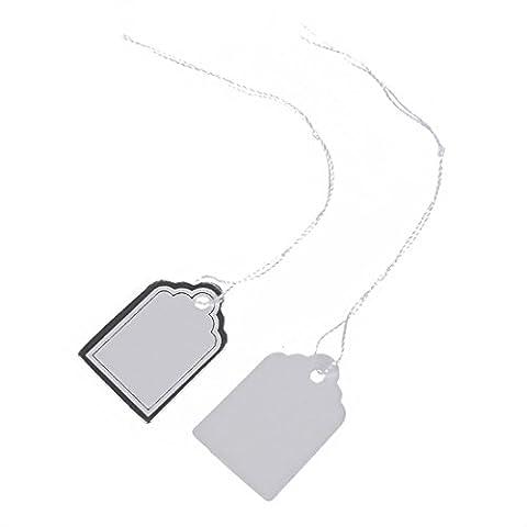 TOOGOO(R) 500pcs etiquettes de Prix avec Cordes Suspendues Affichage de Vente de Bijoux Anneaux - Blanc et d