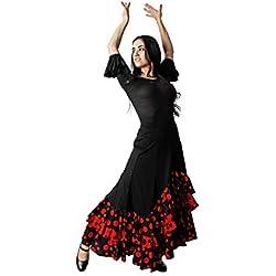 Costumizate! Falda con Tres Volantes de Lunares Negro y Rojo para Mujer Adulta Talla m