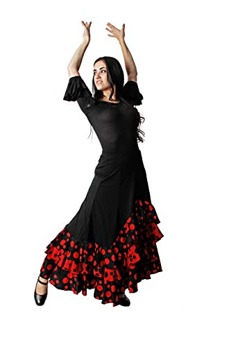 Costumizate! Falda Tres Volantes Lunares Negro Rojo