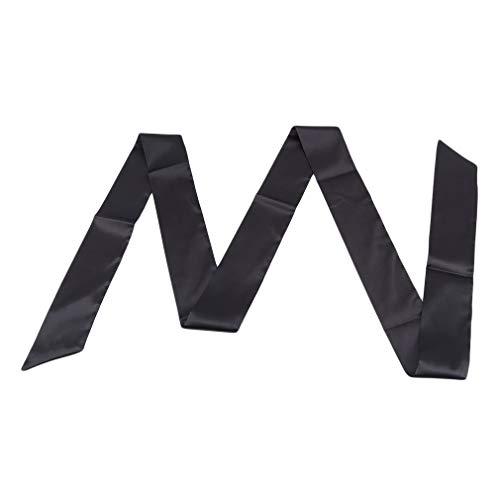MOONQING Ribbon Schal für Frauen Lange dünne Satin Gürtel Schärpe für Kleid Krawatte Halstuch, schwarz -