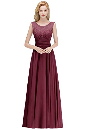 Misshow Damen Abendkleid Bodenlang Chiffon A Linie Prom Dress Kleid Lang Elegant Weinrot -