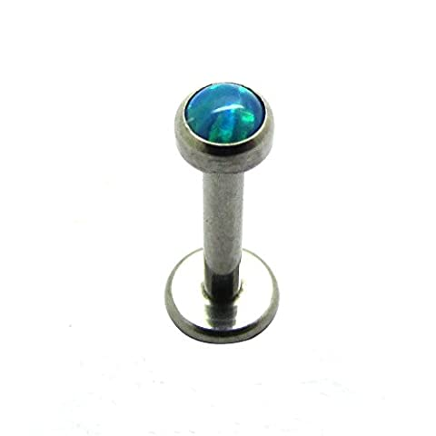 16G 5/16''(8mm) G23 Titanium Internal Threaded White Synthetic Opal Ball Top Labret Lip Monroe Tragus Helix Earring Stud