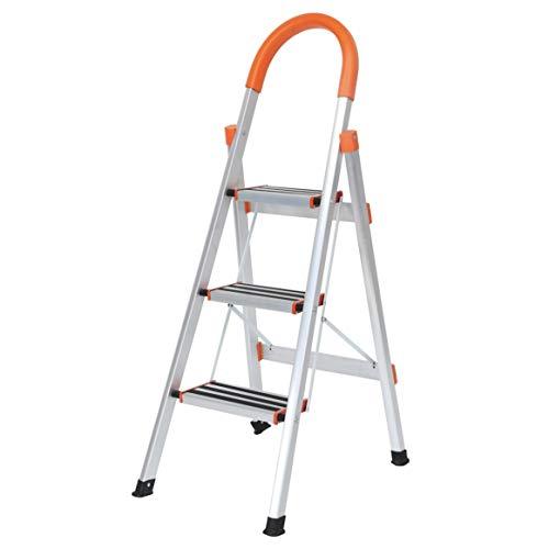 SogesFurniture Escalera de Aluminio antideslizante, Escalera plegable Robusto 3 peldaños, Multifunción Escalera Doméstica Plegable, KS-JF-003-BH